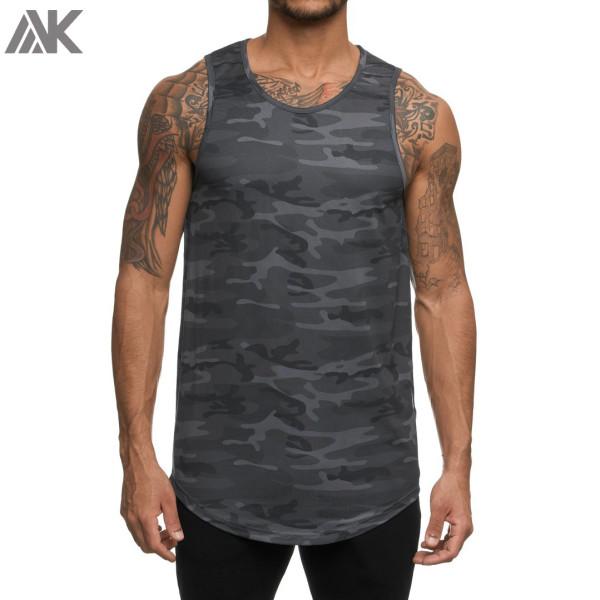 Private Label Wholesale Dry Fit Mesh Crew Neck Camo Gym Tank Tops Mens-Aktik