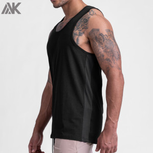 Custom Crew Neck Cotton Athletic Running Tank Tops Mens with Mesh Panels-Aktik