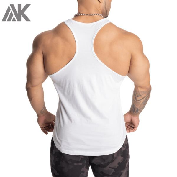 Custom Crew Neck Racerback Cotton Mens Bodybuilding Stringer Tank Tops-Aktik