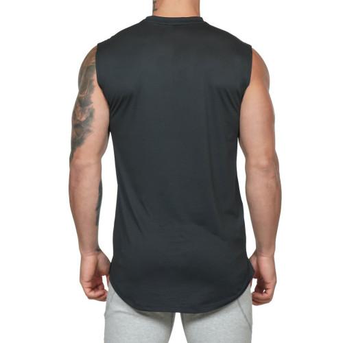 Custom Cotton Spandex Crew Neck Best Fitness Sleeveless Tank Top Mens-Aktik