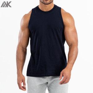 Custom Cotton Crew Neck Plain Muscle Lifting Tank Tops Printing for Men-Aktik