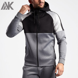 Custom Full Zip Fitted Workout Jacket Zip Hoodie Mens with Zip Pockets-Aktik