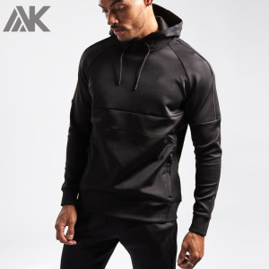 Custom Bulk Hoodies Fitted Pullover Plain Black Gym Hoodies for Men-Aktik