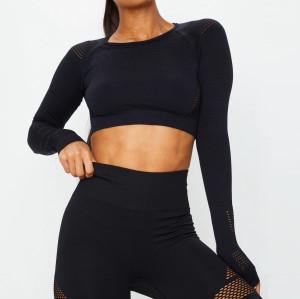 Custom Seamless Shirt Long Sleeve Crew Neck Seamless Crop Top for Women-Aktik