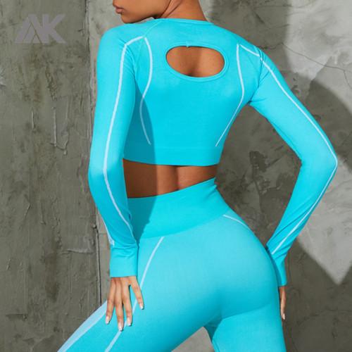 Custom Cropped Seamless Gym T Shirt Seamless Long Sleeve Top for Women-Aktik