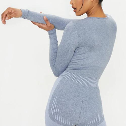 Custom Crew Neck Long Sleeve Crop Top Seamless Activewear for Women-Aktik