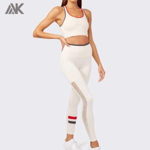 Custom Ribbed Workout Set Crew Neck Sports Bra Seamless Gym Set for Women-Aktik