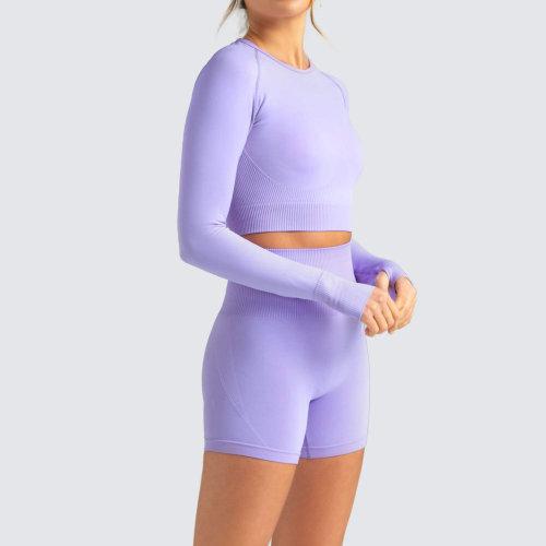 Custom Long Sleeve Yoga Set Crew Neck Crop Top Seamless Gym Wear for Women-Aktik