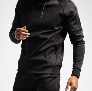 Wholesale Zip Pockets Plain Black Hoodie Fitted Custom Hoodies for Men-Aktik