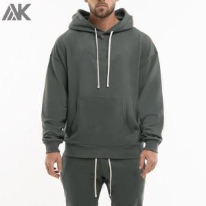 Custom Cotton Fleece Pullover Oversized Hoodie Mens with Drawstring-Aktik