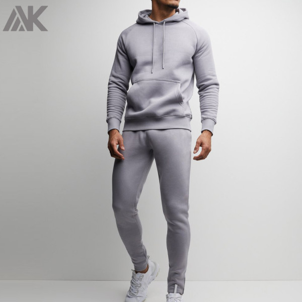 Custom Fitted Cotton Fleece Mens Sweat Suits Wholesale with Pockets-Aktik