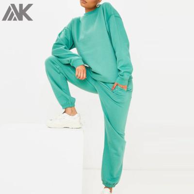 Custom Jogger Set Cotton Oversized Crewneck Matching Sweatsuits for Women-Aktik