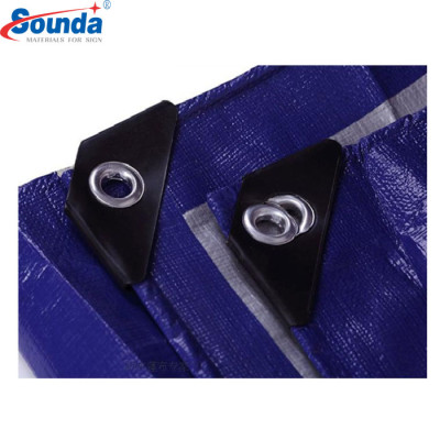 Finished Heavy Duty PE Tarpaulin with Four Corner Reinforced by Black Plastic Triangle