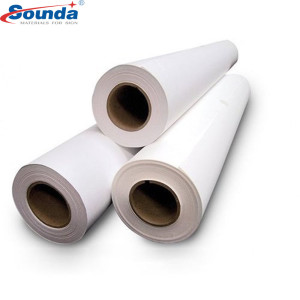 White high glossy eco solvent  sticker 100micron 140g self adhesive vinyl sign printing