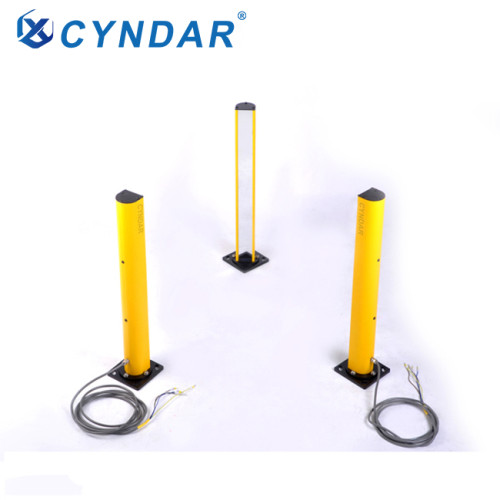 Multi sided safety light curtain mirror column with protective field of view height mirror