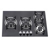 ALK-4508 Fashion Black Tempered Glass Built-in Gas Hob Gas Stove with 4 Burner 60cm