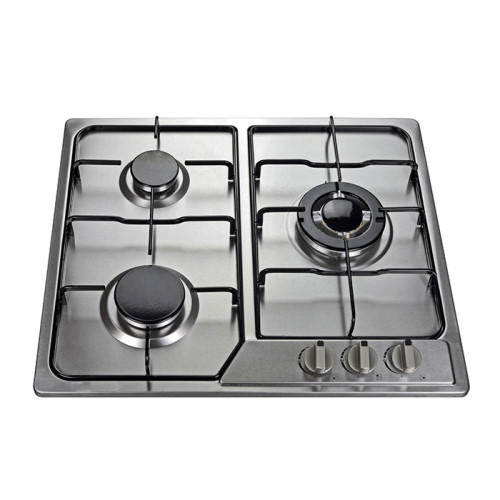 Easy Clean Silver Stainless Steel Built in Gas Hob with 3 Burner