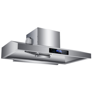 Stainless Steel 100cm Commercial Extractor Hood Cooker Hood with Motor Filters Lights