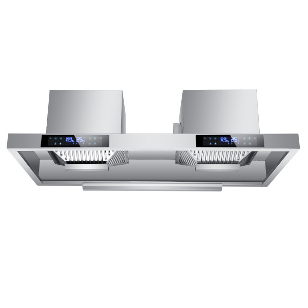Stainless Steel 130cm Commercial Extractor Hood Cooker Hood with Motor Filters Lights