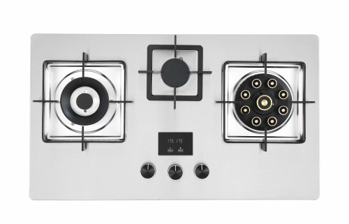 Silver Built in Gas Hob Made in China with Stainless Steel Cooktop with 3 Burner 75cm