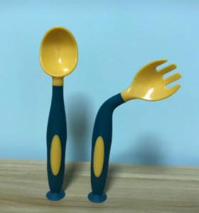 Wholesale BPA Free Food Grade PP Non-Toxic Baby Twist Fork Spoon