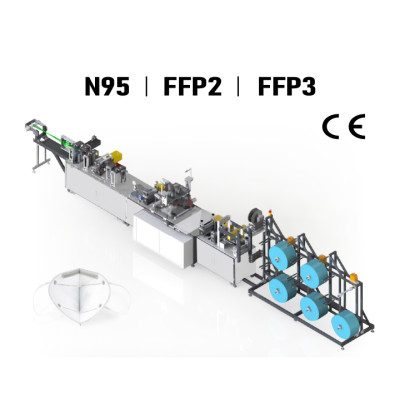 Suntech FFP2 / N95/FFP3 Mask Machine with Sponge Inserting and Online Packing