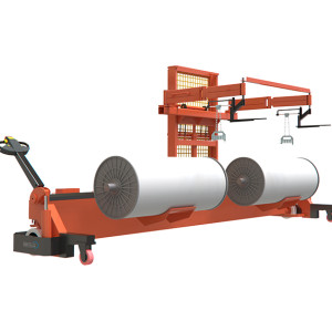 ELECTRIC WARP BEAM LIFT TROLLEY WITH HARNESS MOUNTING DEVICE ( FOR TWIN WARP BEAMS; WIDER WIDTH )