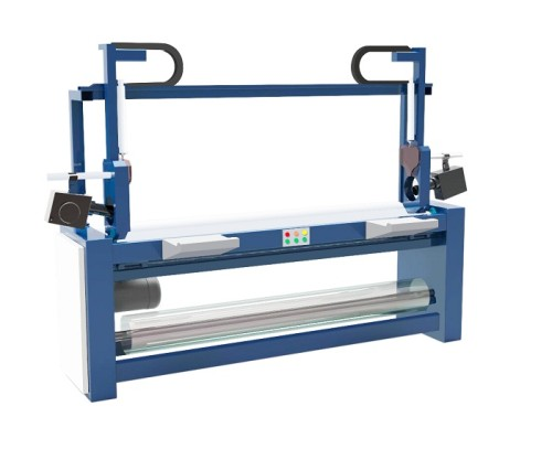 SEMI-AUTOMATIC FABRIC ROLL PACKING MACHINE ( SHRINK FILM PACKING AFTER FABRIC INSPECTION MACHINE )