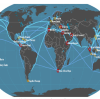 Shipping routes from China to various places