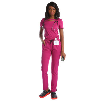 高品质的短袖定制护士擦洗带有标志颈部设计的医务制服