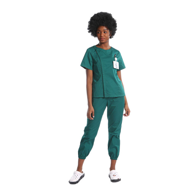 Invisibly Zip Up Nurse Scrubs Top With Pants Set
