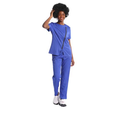 高品质短袖定制护士磨砂制服,带有徽标领口设计,定制舒适