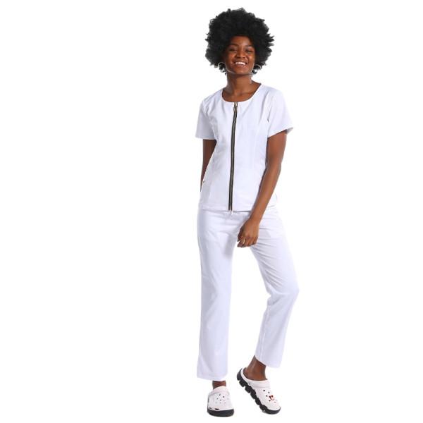 Slant Pocket Zip Up Scrub Top With Pants Set