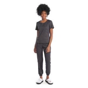 V-neck Zip Half Placket Scrub Top With Pants Set