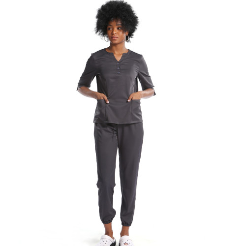 Women's Scrub Uniforms | V-neck Button Half Placket Scrub Uniforms Tops | Breathable Jogger Pants | Scrub Uniforms Wholesale