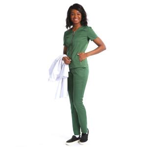 O-ring Zip-up Nurse Scrub Top with Pants set