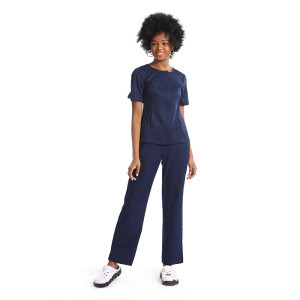 Invisibly Zip Up Solid Nurse Scrub Top With Pants Set
