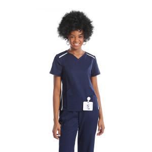 Contrast V-neck Nurse Scrub Top With Pants Set