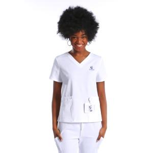 Customized Patch Pocket Nurse Scrub Top With Pants Set