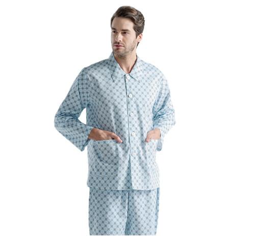 Unisex Patient Dressing Gowns   Plaid Stripe Long Sleeve Patient Gowns Washable   Cotton Patient Gowns Custom