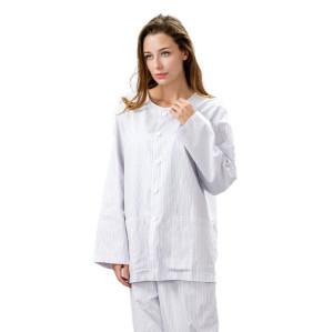 Unisex Patient Dressing Gowns | Plaid Stripe Long Sleeve Patient Gowns Washable | Cotton Patient Gowns Custom