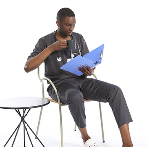Gray Men's Scrub Uniforms   V-Neck Breast Pocket Scrub Hospital Uniform   4 Way Stretch Scrub Uniform Sets Wholesale