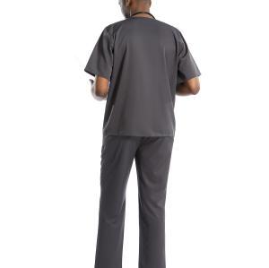 男士 V 领胸袋磨砂上衣配裤子套装