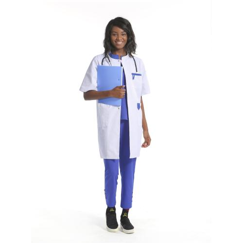 Reusable Lab Coats   Short Sleeve Button Up Contrast Lab Coats For Hospital   Quality Hospital Lab Coats Wholesale