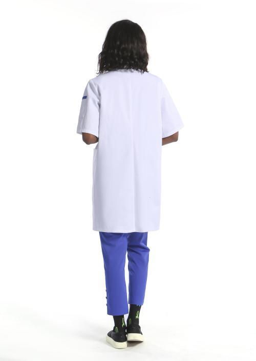 短袖纽扣对比色实验室大衣