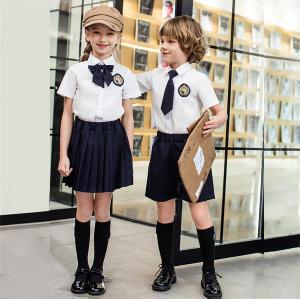 Short Sleeve School Uniforms | Shirts With Striped Pleated Skirt And Shorts Sets | High Quality School For Student