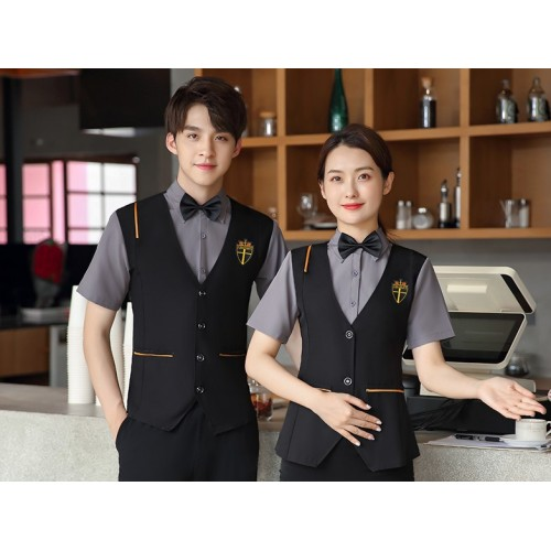 Basic Catering Server Uniforms   Shirt With Vest And Pants Catering Uniforms   High Quality Uniforms For Catering