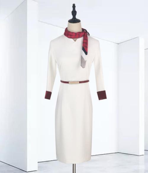 Flight Attendant Uniforms Female | Round Neck 3/4-Sleeve Flight Attendant Fancy Dresses | Custom Flight Attendant Dresses