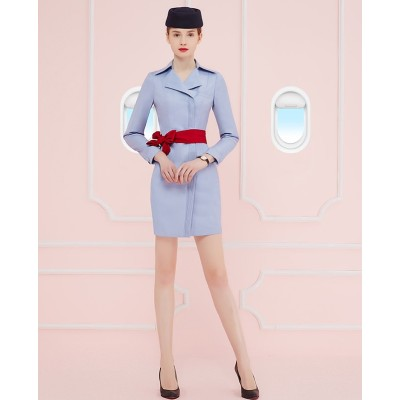 Women's Flight Attendant Dresses | Notched Collar Long Sleeve Flight Attendant Fancy Dresses | Custom Airline Dresses With Hat