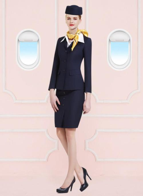 Black Airline Uniforms | Air Crew Tops With Skirts Sets | Professional Aviation Garment Customization Factory
